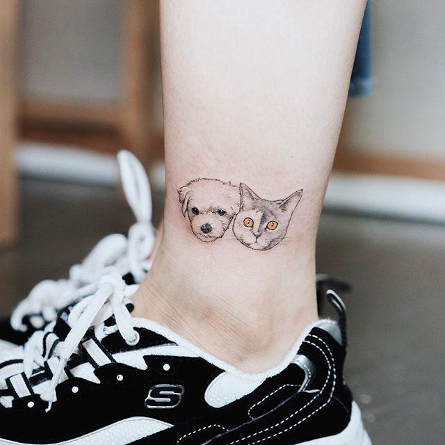 Os dois amiguinhos reunidos na perna