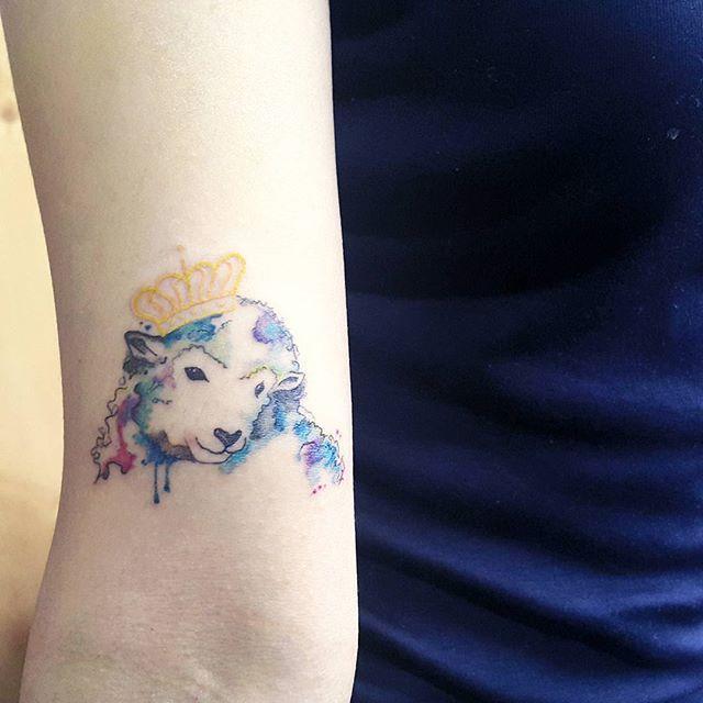 Ovelha rainha em tons aquarelados no braço