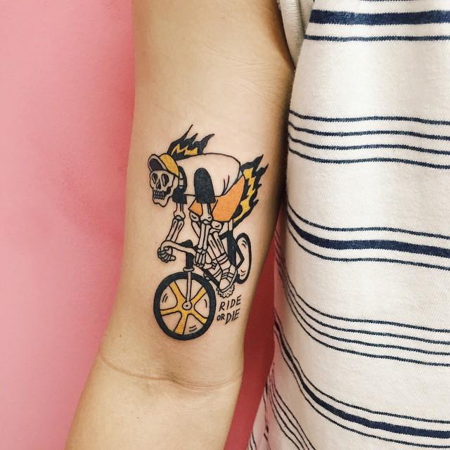tatuagens pequenas no braço Bicicleta