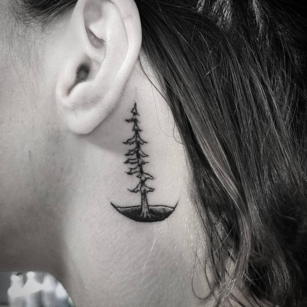 Tatuagem de pinheiro atrás da orelha.