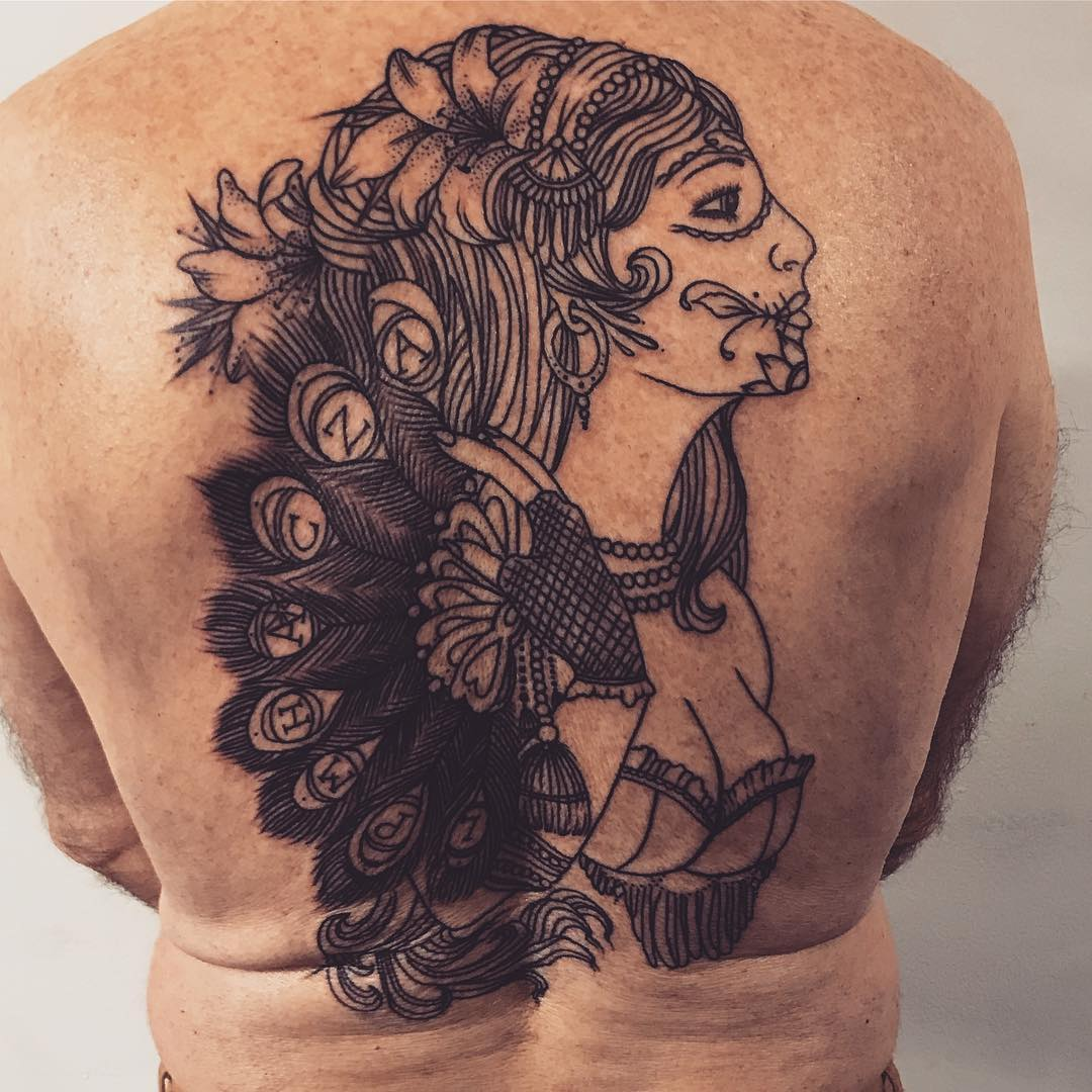 Tatuagem nas costas masculina: Caveira mexicana, desenho em linhas e sombreados