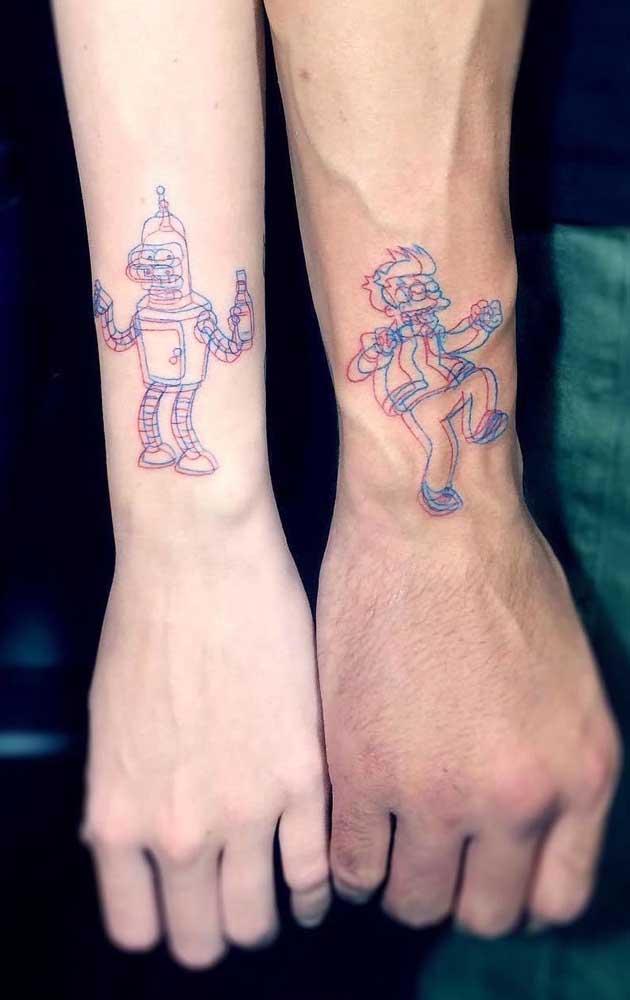 O que acha de fazer uma tatuagem em 3D com personagens de desenho animado?