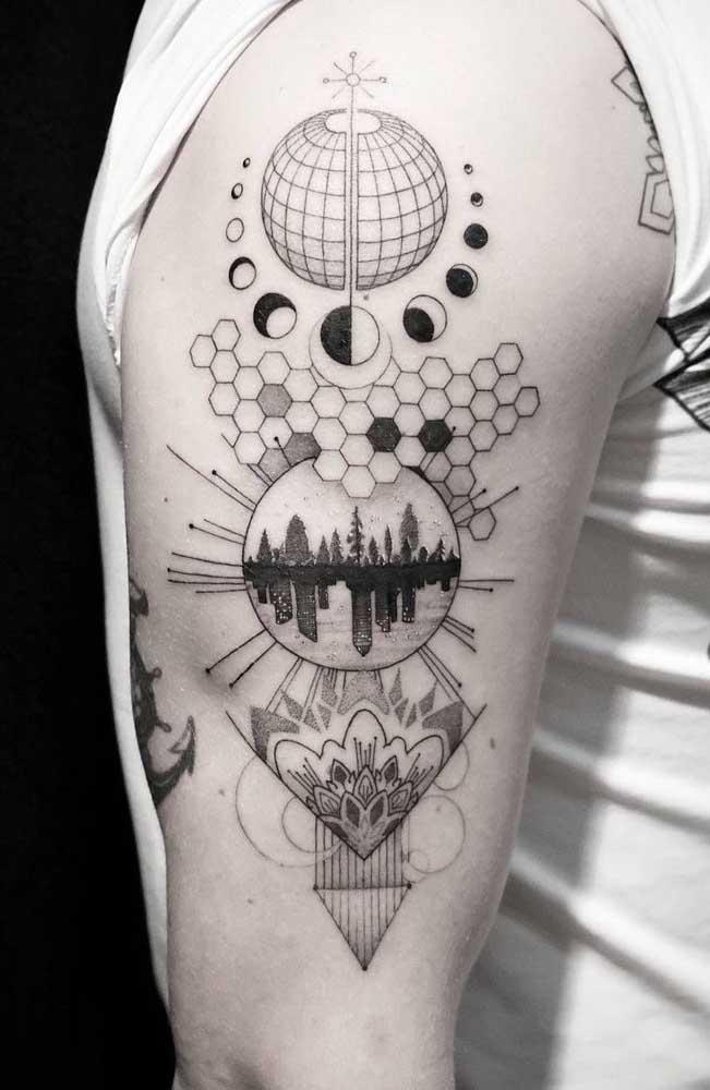Uma mistura de desenhos e ideias para fazer uma tattoo 3D diferenciada.
