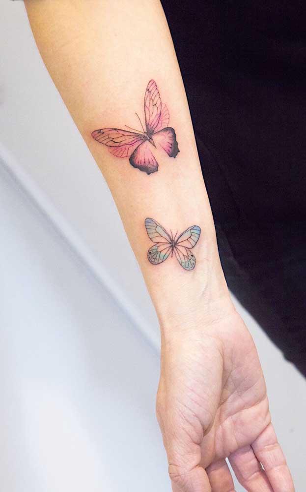 A tatuagem borboleta 3D é um desenho bem delicado que combina com mulheres que amam a liberdade.
