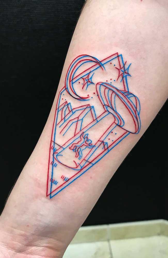 Quer ser abduzido por uma nave espacial, nem que seja apenas na tatuagem 3D?