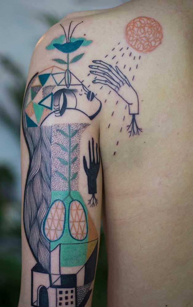 Pense em uma mistura de formas e imagens para fazer uma tatuagem diferente, moderna e cheia de significados.