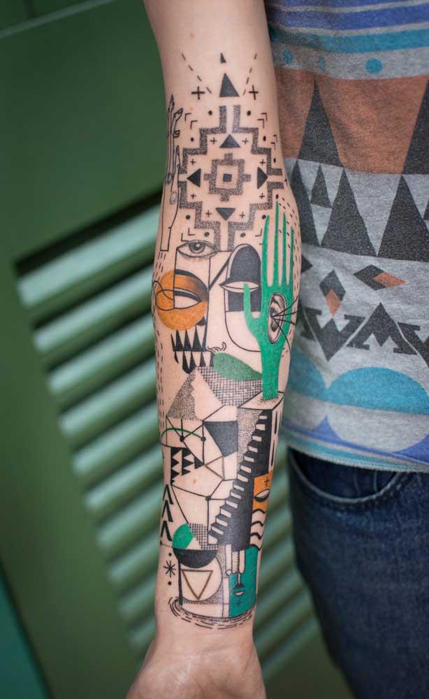Com a tatuagem 3D tudo é possível, até misturar formas e desenhos para chegar na imagem que você deseja.