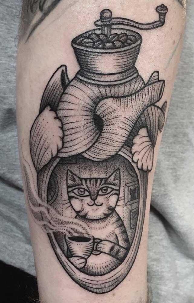 Eu acho que vi um gatinho escondido em uma tatuagem 3D.