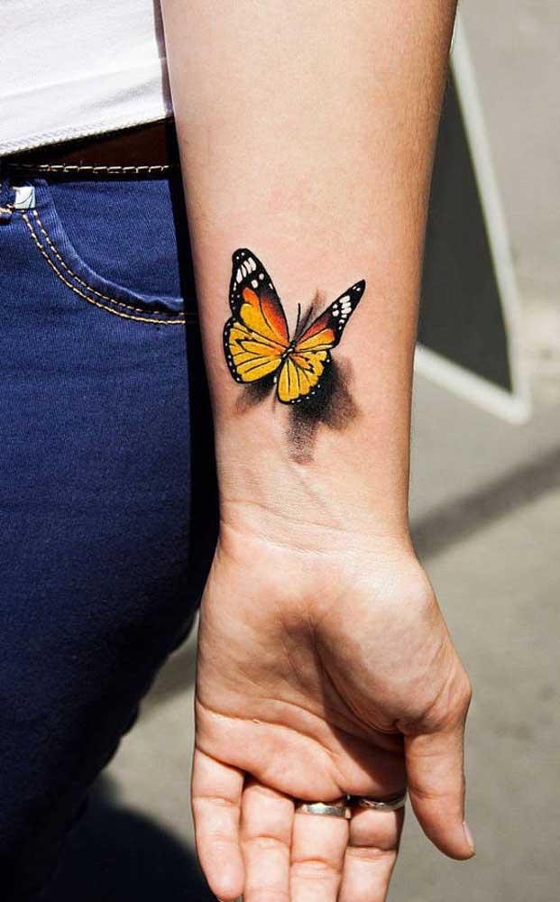 A borboleta é a imagem da transformação, da mutação e da liberdade. Perfeito para eternizar em uma tatuagem 3D.