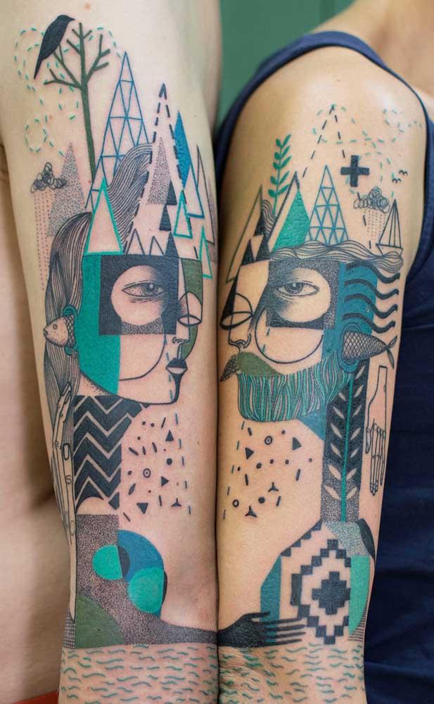 Que tal fazer uma tatuagem que complementa a tattoo de outra pessoa?