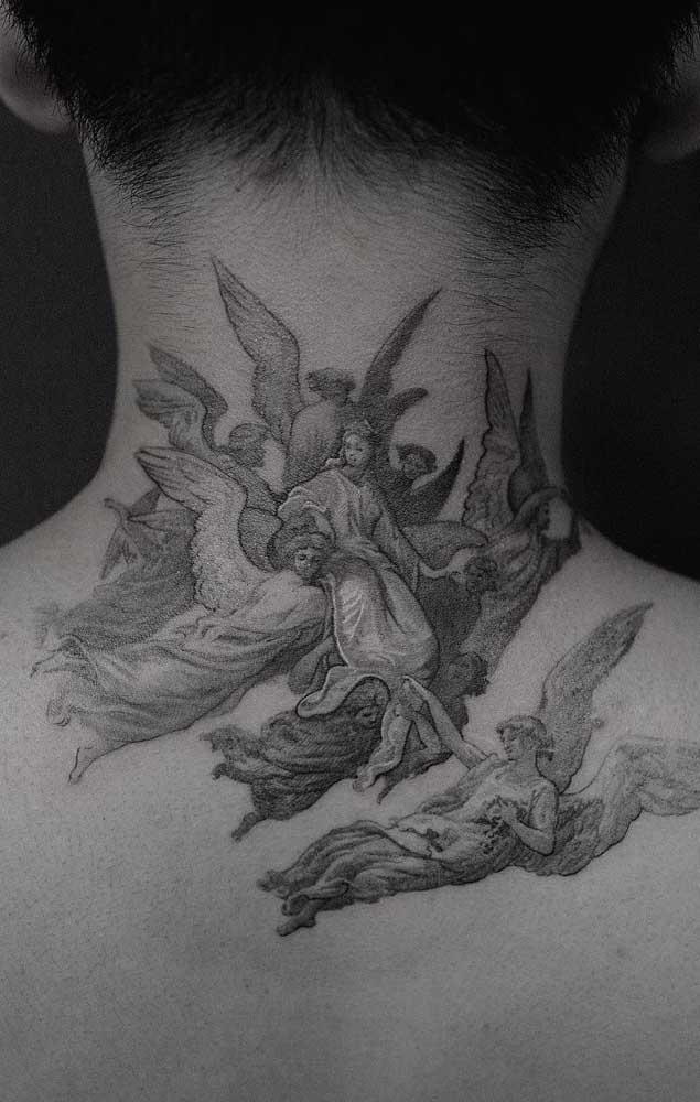 Tem lugar melhor do que tatuar anjos no pescoço?