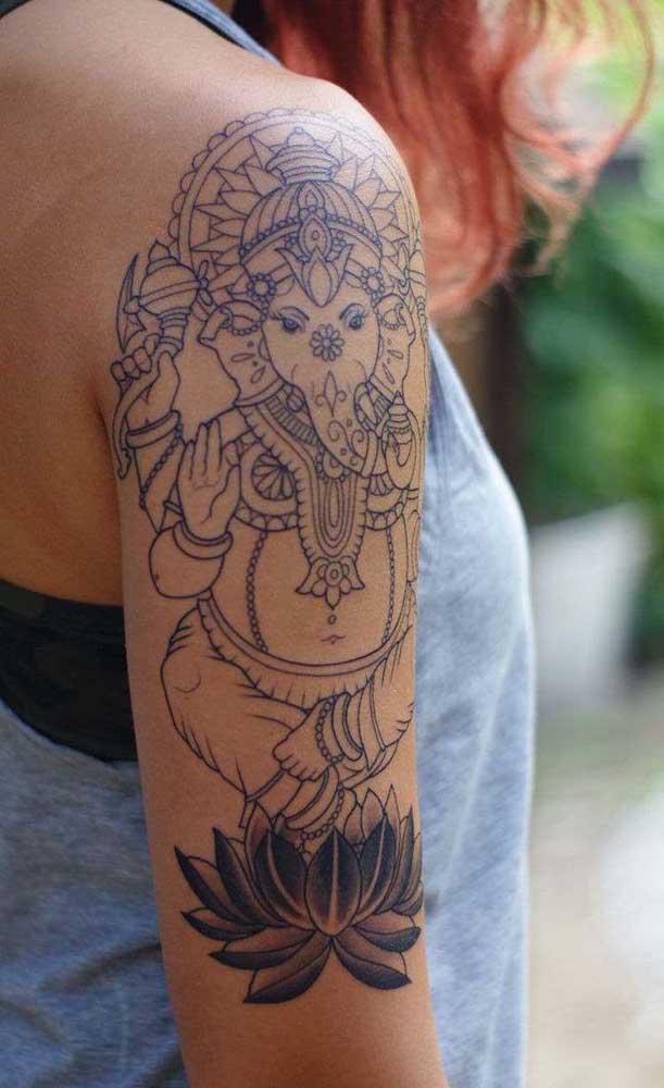 O elefante é um dos principais símbolos da tatuagem indiana.