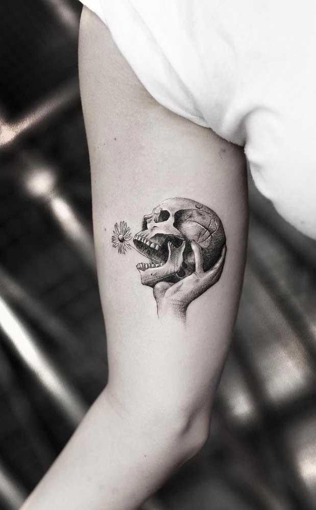 A caveira é uma das figuras mais usadas em qualquer tipo de tatuagem.