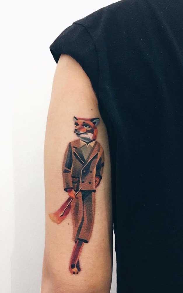 Já pensou no desenho da tatuagem sombreada no braço? Essa imagem pode ser uma ótima ideia.