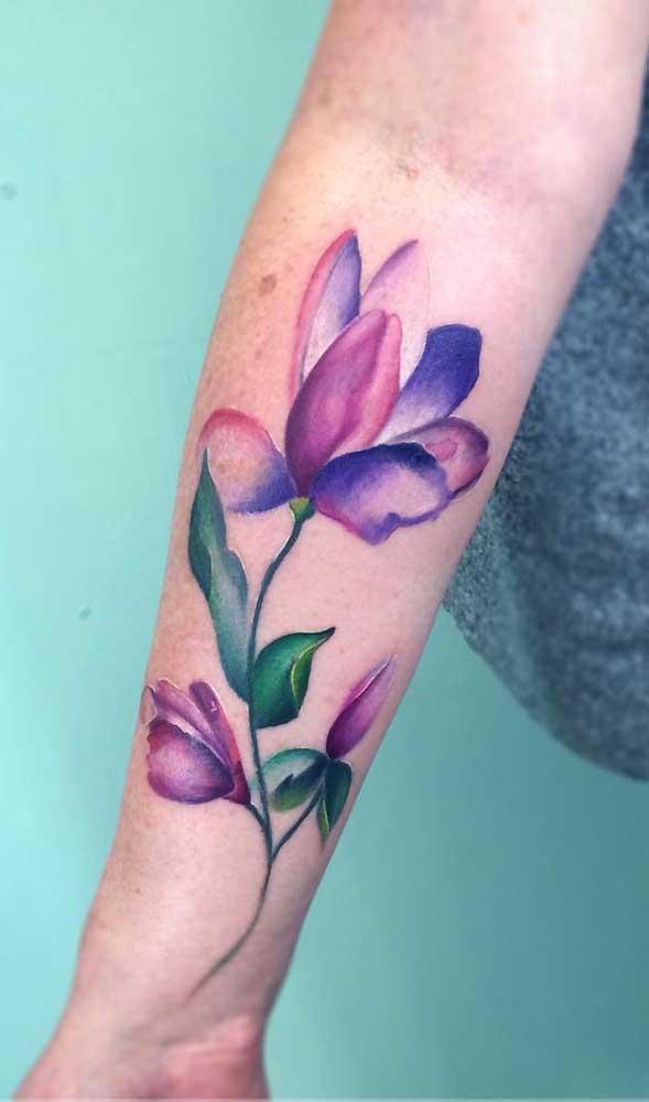 Aposte no colorido da aquarela tatuagem.
