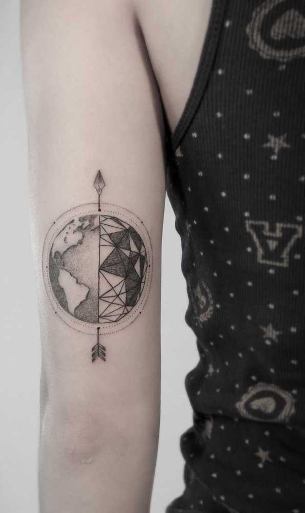 A flecha pode representar a divisão de dois mundos.