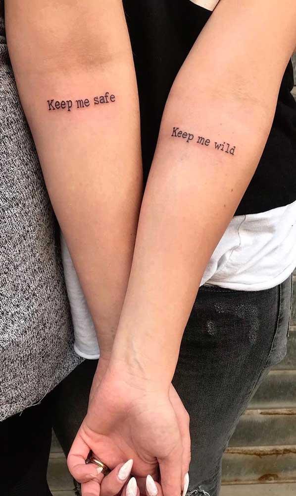 A cumplicidade deve está presente na tatuagem de irmãs.