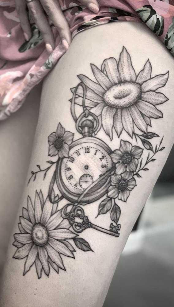 Que tal fazer uma tatuagem de relógio na perna bem marcante?