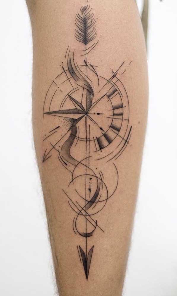 Quer uma tatuagem rosa dos ventos diferenciada?