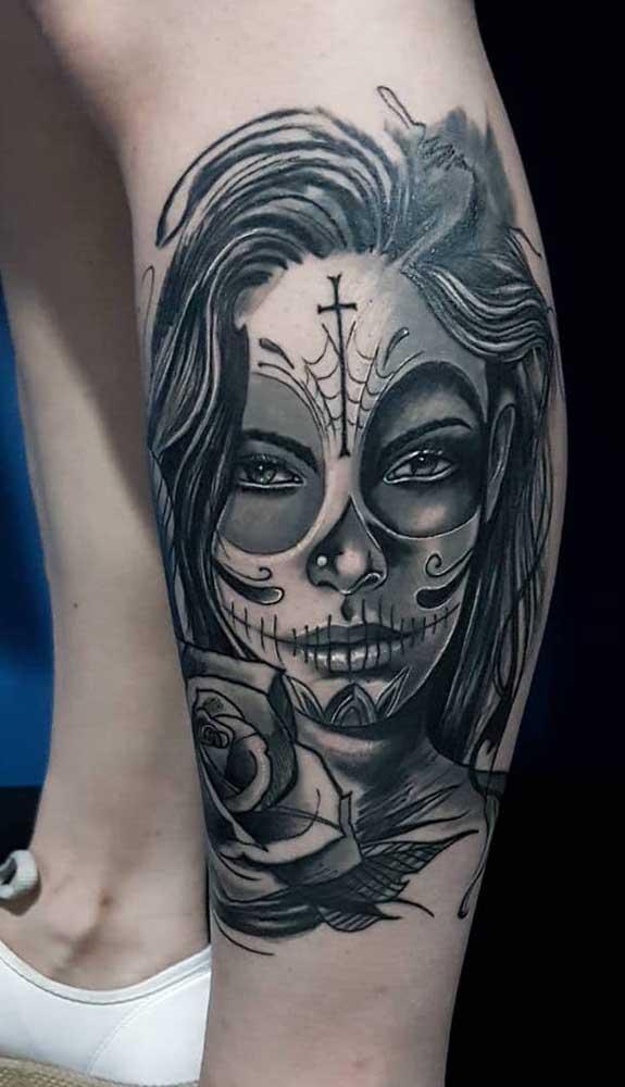 Ou você pode apostar na tatuagem catrina sombreada?