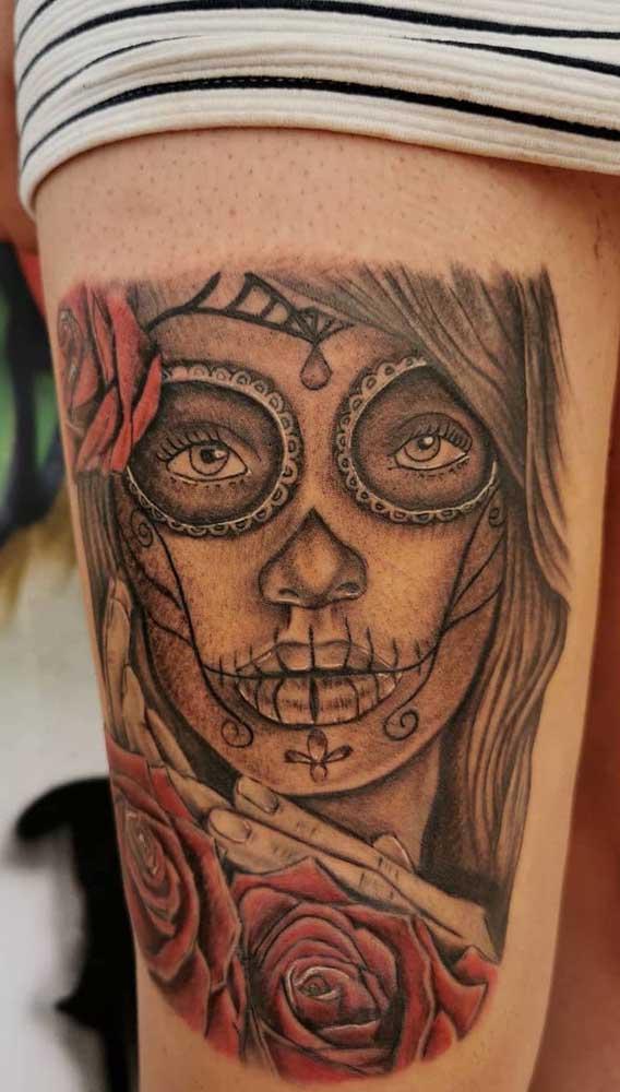 No braço o mais indicado é fazer somente uma tatuagem com o rosto da Catrina.