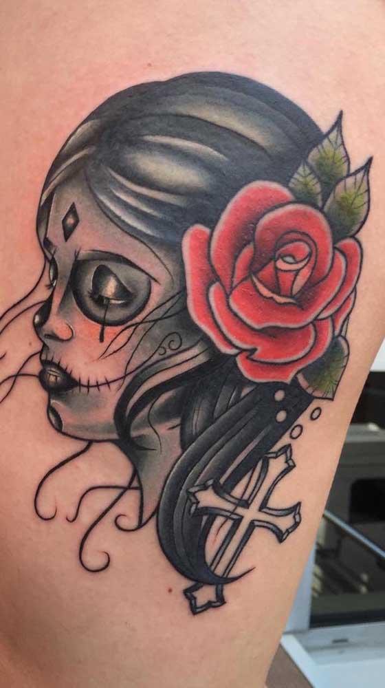 A tatuagem catrina mexicana pode ser feita em diferentes estilos.