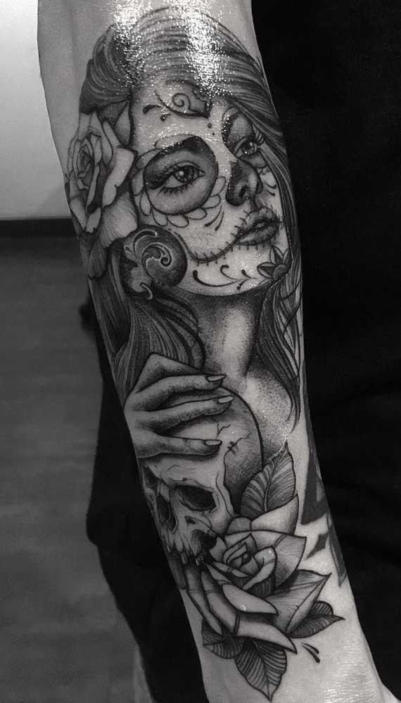 Veja que bela imagem você pode fazer como tatuagem catrina no antebraço.