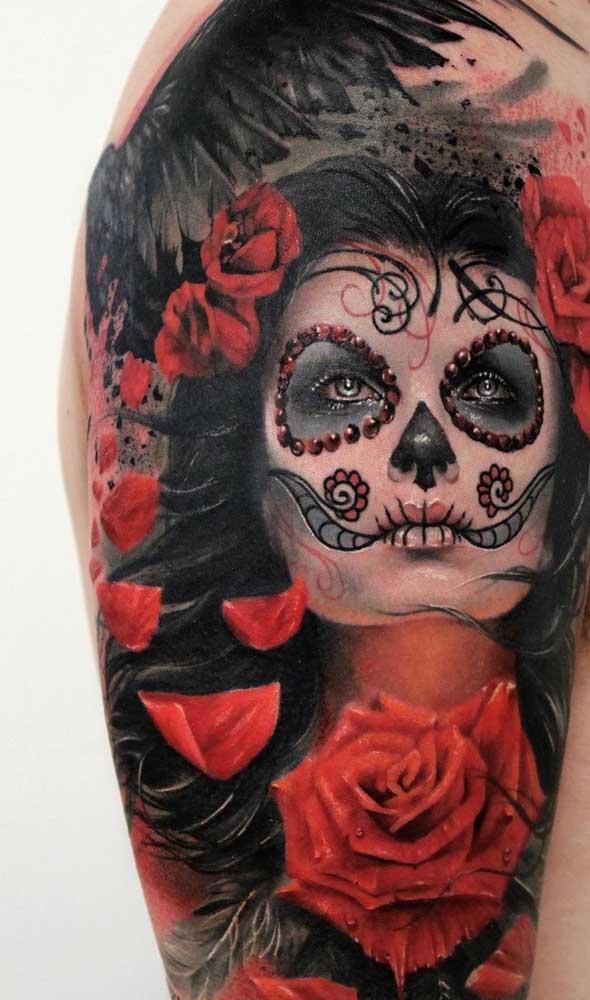 Os detalhes da personagem Catrina são que fazem diferença na hora de fazer a tattoo.