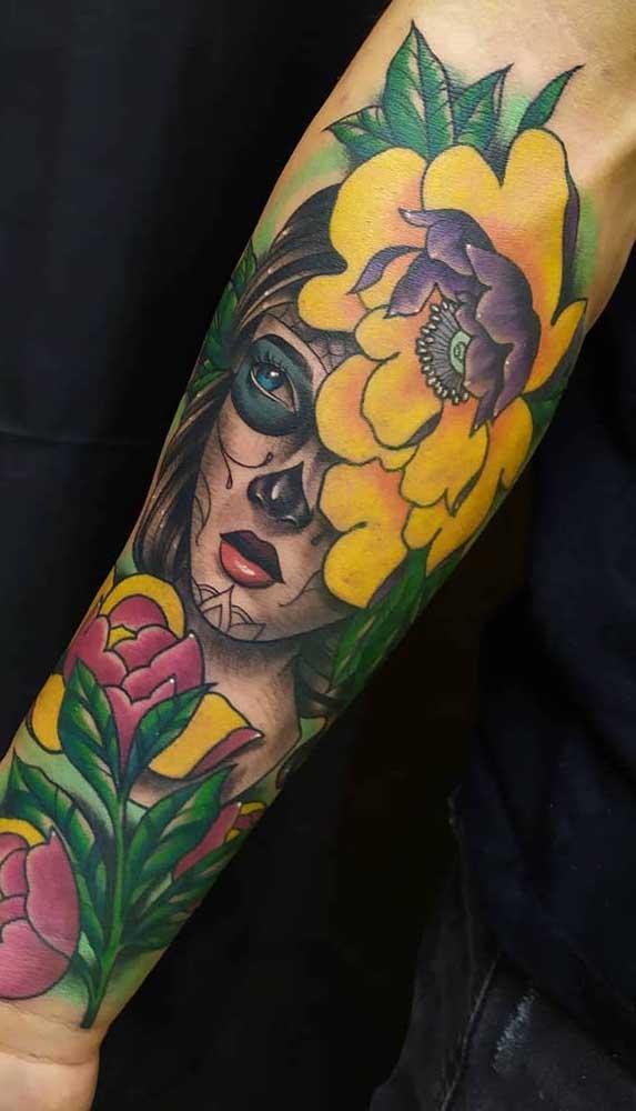 Se você quer fazer uma tatuagem catrina mais colorida deve escolher o estilo New School.