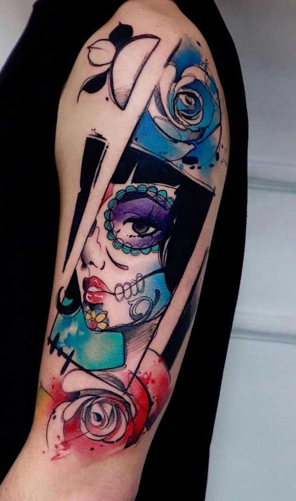 Que tal fazer uma tatuagem catrina mais moderna?