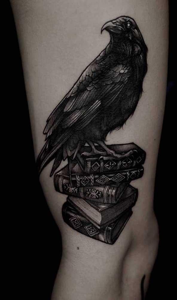 Assim como a coruja, o pássaro também pode significar sabedoria, ainda mais se for combinado com o livro.