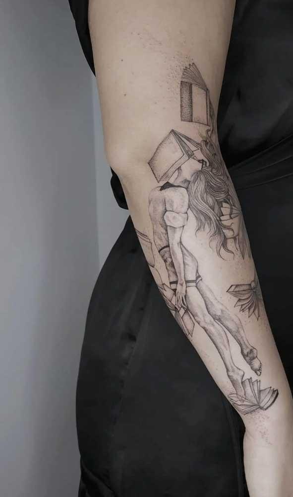 Deixe a imaginação fluir e faça uma tatuagem de livros totalmente original.