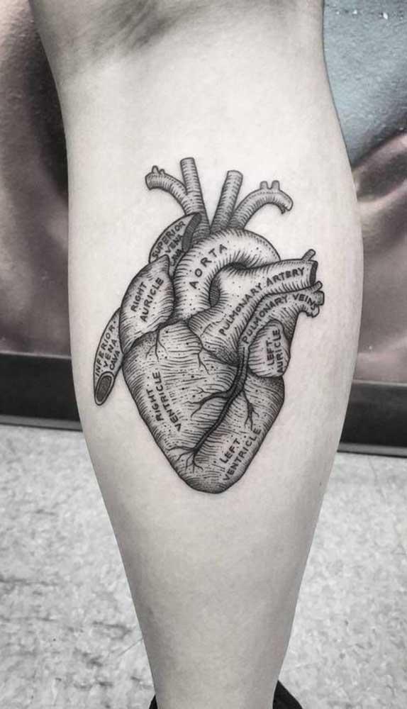 Um coração batendo em plena panturrilha.