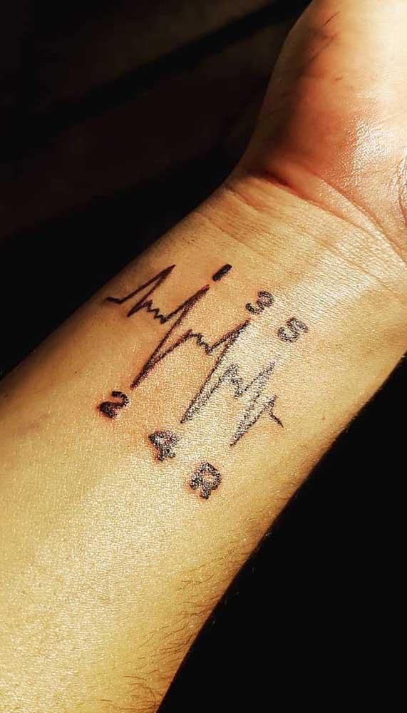 Acrescente números à tatuagem batimento cardíaco.