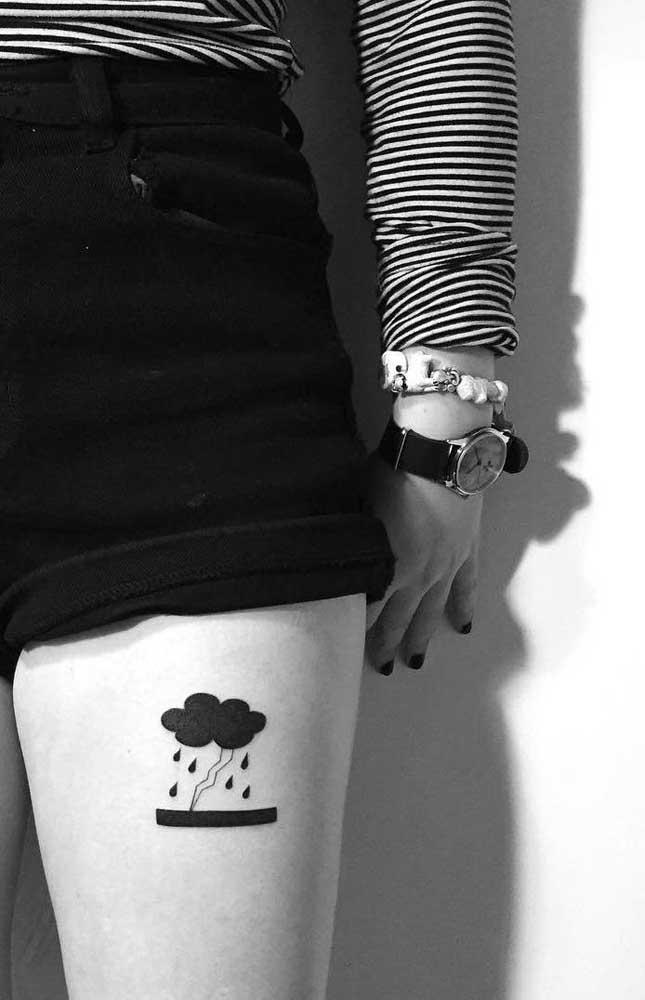Mas elas também adoram a tatuagem na coxa feminina delicada.
