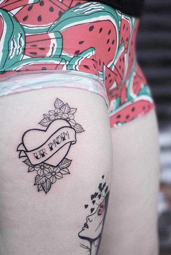 Você pode escolher diferentes áreas da coxa para fazer a sua tatuagem.