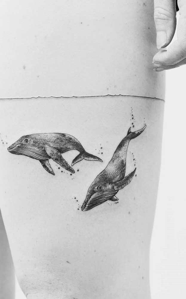 O que acha de desenhar baleias mergulhando na sua coxa?