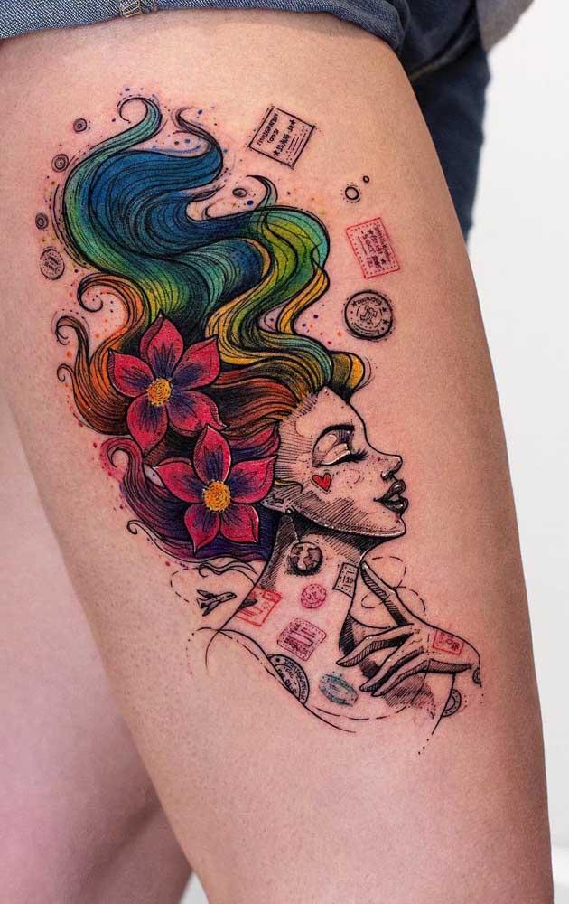 Use estilos diferentes para fazer uma tatuagem especial na coxa.