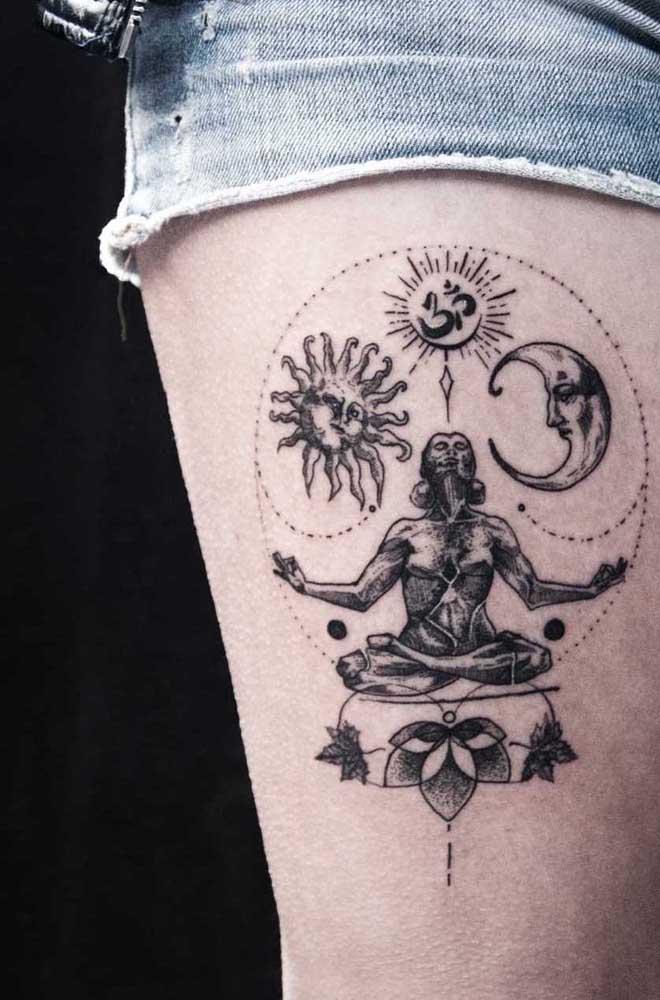 Elementos esotéricos representam você? Que tal tatuar isso na coxa