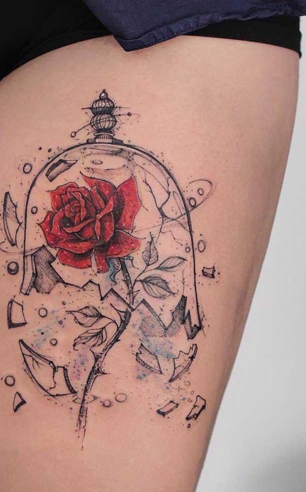 É um apaixonado por contos de fadas? Que tal tatuar isso na coxa?