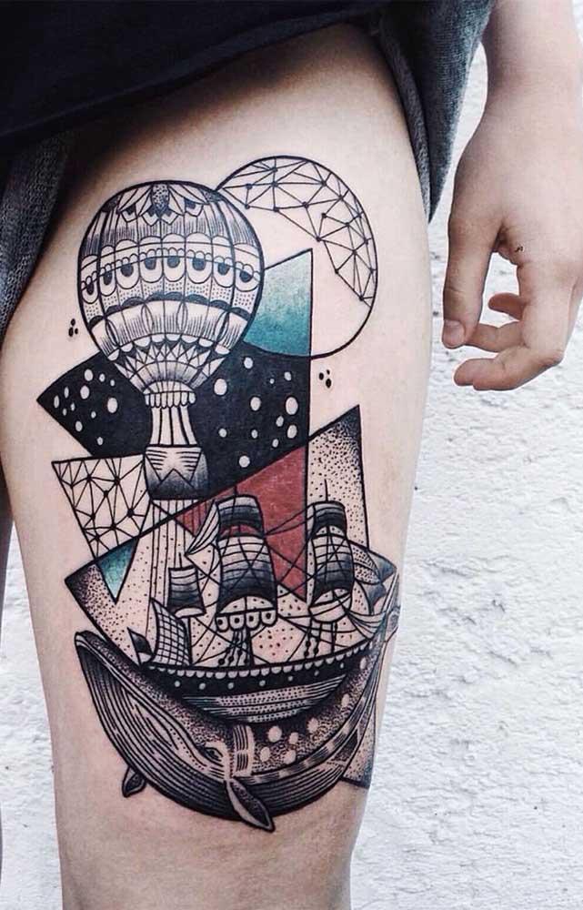 Veja que desenho incrível para a tatuagem na coxa.