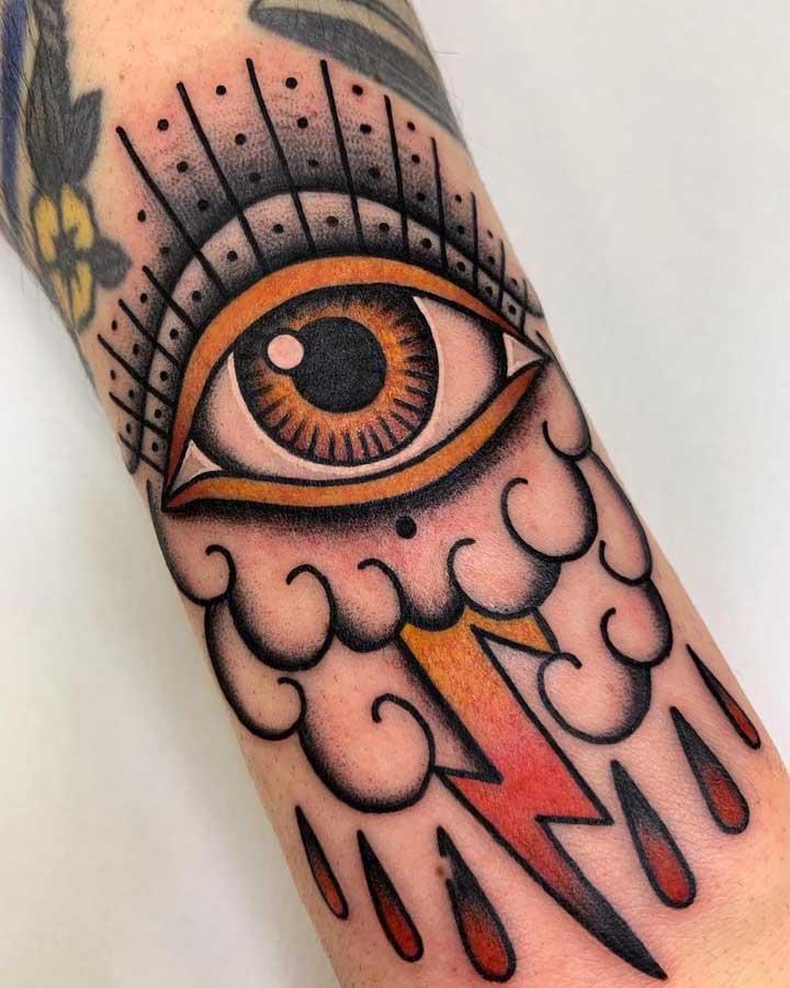 O que não falta é criatividade para fazer uma tatuagem old school como essa.