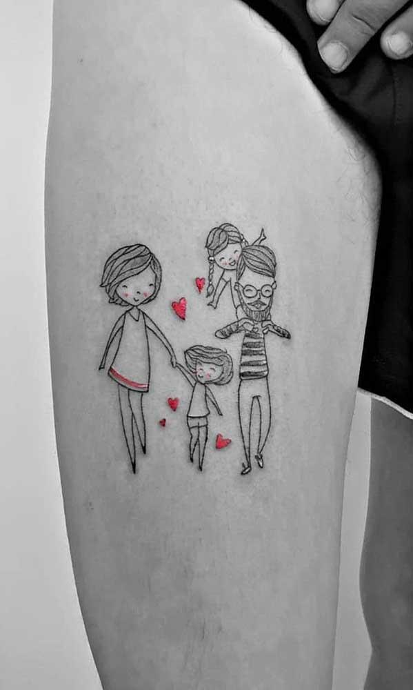 Tatuagem de família. Os pontos em vermelho trazem ainda mais destaque para a tattoo