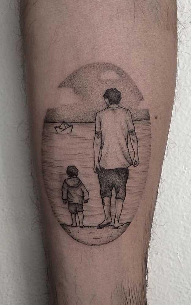 Tatuagem de pai para filho. A dica aqui é eternizar um momento