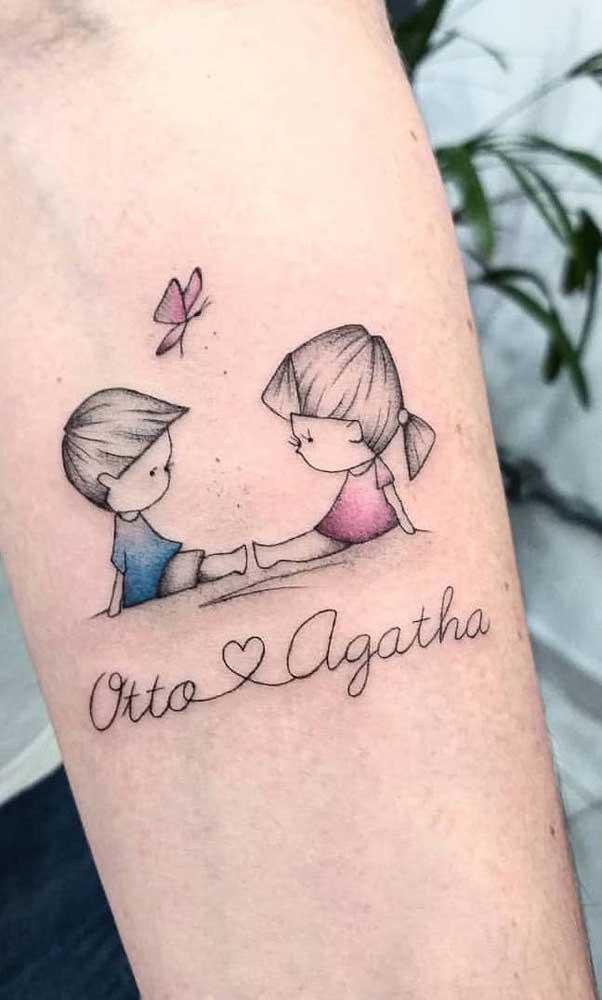 Uma tatuagem para casal de filhos pra lá de delicada!