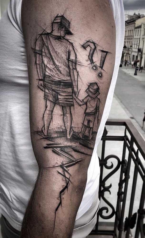 Se você procura uma tatuagem de pai para filho marcante e cheia de significados, acabou de achar!