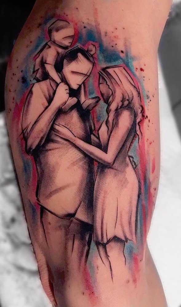 Uma foto estilizada se transforma em uma linda tatuagem de família