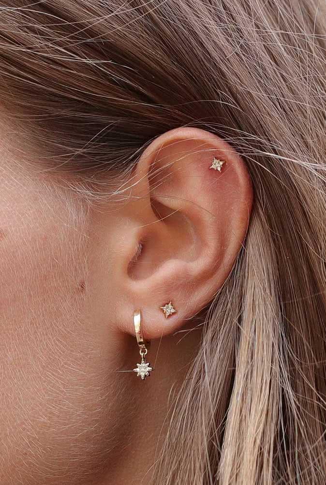 Piercing ponto de luz para a orelha